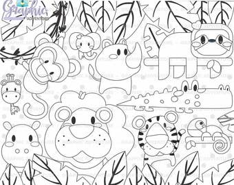 Animal Stamp COMMERCIAL USE Digi Digital Image Party Digistamp Coloring Page Graphic Clipart