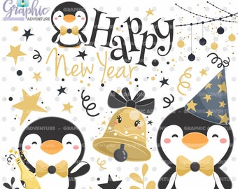 new year clipart new year graphic penguin clipart commercial use new years eve clipart winter clipart winter graphics celebration