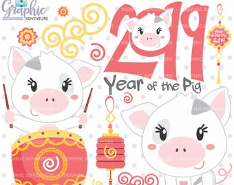 chinese new year clipart chinese new year of the pig clipart commercial use year of the pig clipart new year clipart pig clipart pig