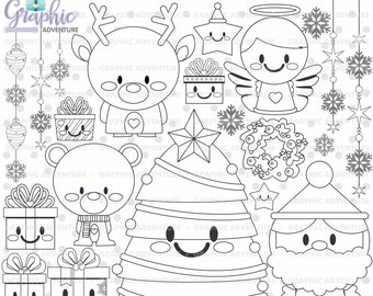 Christmas Stamp, COMMERCIAL USE, Digi Stamp, Digital Image, Christmas Digistamp, Christmas Coloring Page, Christmas Graphic, Stamps