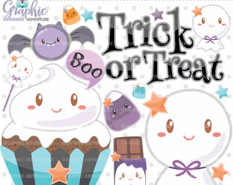Halloween Clipart, Halloween Graphics, Ghost Clipart, COMMERCIAL USE, Kawaii Clipart, Halloween Party, Planner Accessories, Boo