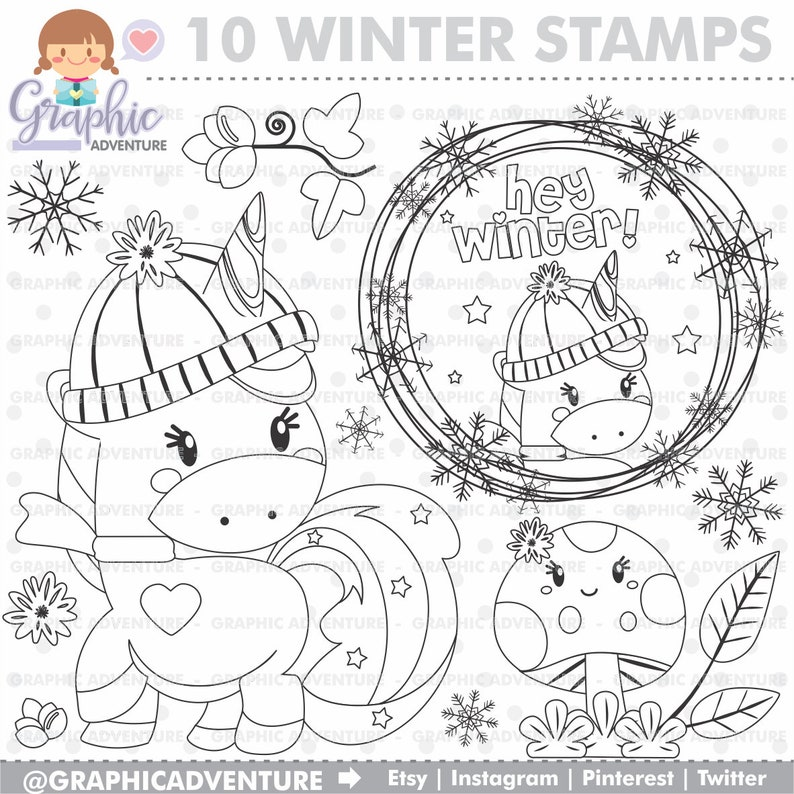 Unicorn Sts Winter Christmas Mercial Etsyrhetsy: Winter Unicorn Coloring Pages At Baymontmadison.com