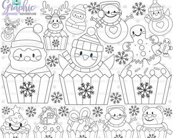 Christmas Stamp, COMMERCIAL USE, Digi Stamp, Digital Image, Christmas Digistamp, Christmas Coloring Page, Cupcake Stamps, Clipart