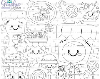 Halloween Stamp, COMMERCIAL USE, Franskenstein Stamps, Digi Stamp, Digital Image, Halloween Digistamp, Halloween Coloring Page