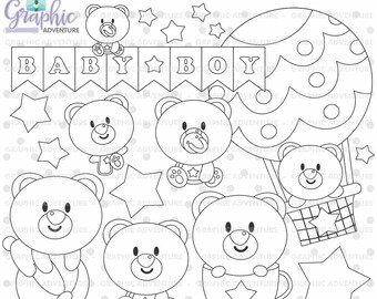 Baby Bear Stamps, Bear Stamps, Boy Stamps, Baby Boy Stamps, Digi Stamp, Digital Stamps, Bear Coloring Page, COMMERCIAL USE, Stamps