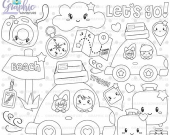 Travel Stamps, Travel Coloring Page, Tourism Stamps, COMMERCIAL USE, Dog Stamps, Excursion Stamps, Trip Stamps, Travelers Stamps, Car Stamps