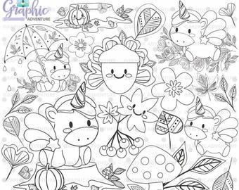 Unicorn Stamp, COMMERCIAL USE, Digi Stamp, Digital Image, Party Digistamp, Unicorn Coloring Page, Autumn Stamps, Unicorn Clipart