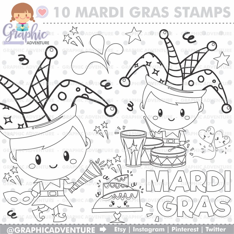Mardi Gras Stamps, Mardi Gras Coloring Page, Digital Stamp, COMMERCIAL USE,  Carnival Stamp, Mardi Gras Images, Party Stamps, Carnival Images