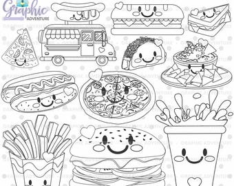 Food Stamps, Fast Food Stamps, Digi Stamp, Digital Stamps, Food Coloring Page, COMMERCIAL USE, Food Digistamp, Food Clipart, Stamp