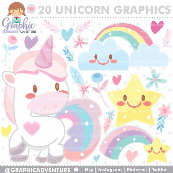 Clipart Di Unicorno Unicorn Grafica Uso Commerciale Kawaii Etsy