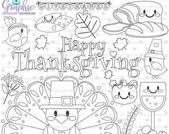 Thanksgiving Stamp, COMMERCIAL USE, Digi Stamp, Digital Image, Thanksgiving Digistamp, Thanksgiving Coloring Page, Thanksgiving