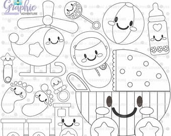 Baby Stamps, Digi Stamp, Baby Boy Stamps, Digital Stamp, Baby Coloring Page, COMMERCIAL USE, Baby Digistamp, Kawaii Stamps, Clipart