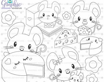 Mouse Stamps, Mice Stamp, Digital Stamps, COMMERCIAL USE, Digi Stamp, Mouse Digistamp, Mouse Coloring Page, Mice Clipart, Cheese