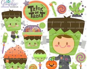 Halloween Clipart, Halloween Graphics, COMMERCIAL USE, Frankenstein Clipart, Frankenstein Graphic, Pumpkin Clipart, Pumpkin Graphic