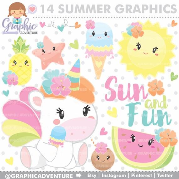 Unicorno Clipart Unicorn Grafica Uso Commerciale Kawaii Etsy