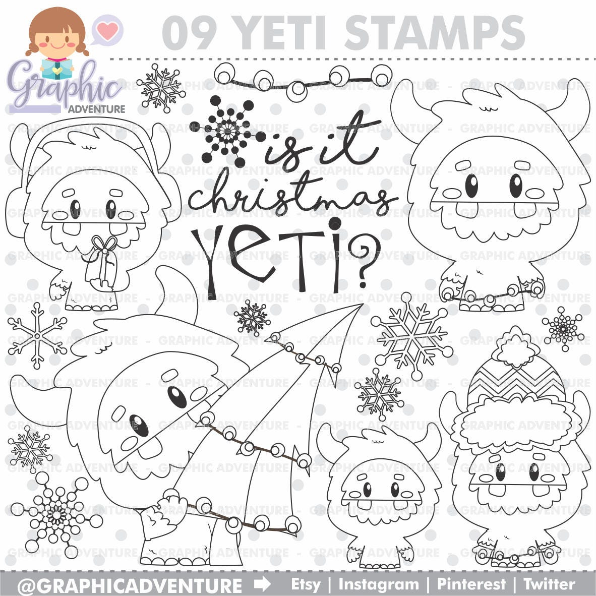 Yeti Stamps Winter Christmas COMMERCIAL