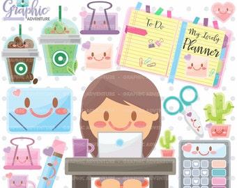 Planner Clipart, Planner Graphics, COMMERCIAL USE, Kawaii Clipart, Planner Icons, Planner Accessories, Planner Girl, Clipart