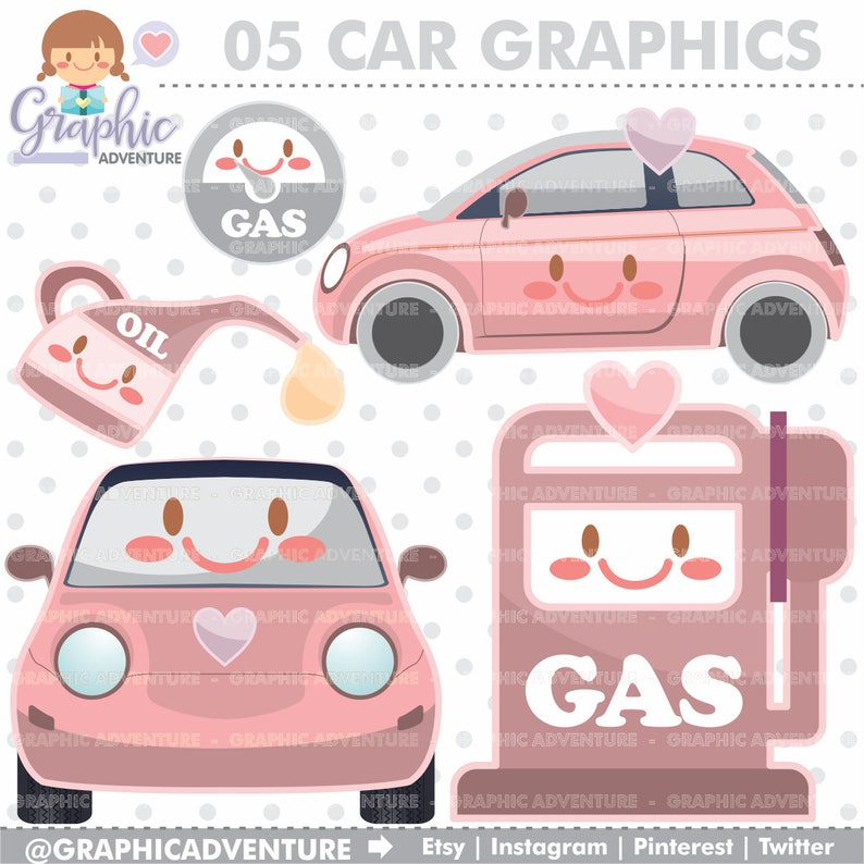 Car Clipart Car Graphics Commercial Use Kawaii Clipart Etsy