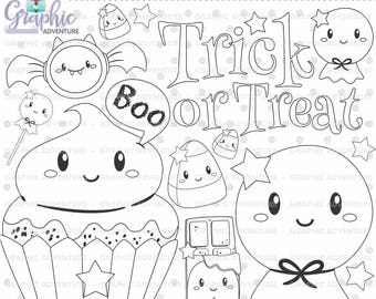 Halloween Stamps, Ghost Stamps, Digi Stamp, Digital Stamps, Halloween Coloring Page, COMMERCIAL USE, Halloween Digistamp, Clipart