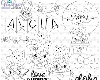 Summer Stamps, Pineapple Stamps, Aloha Stamps, COMMERCIAL USE, Baby Shower Stamps, Summer Coloring Page, Summer Party, Aloha