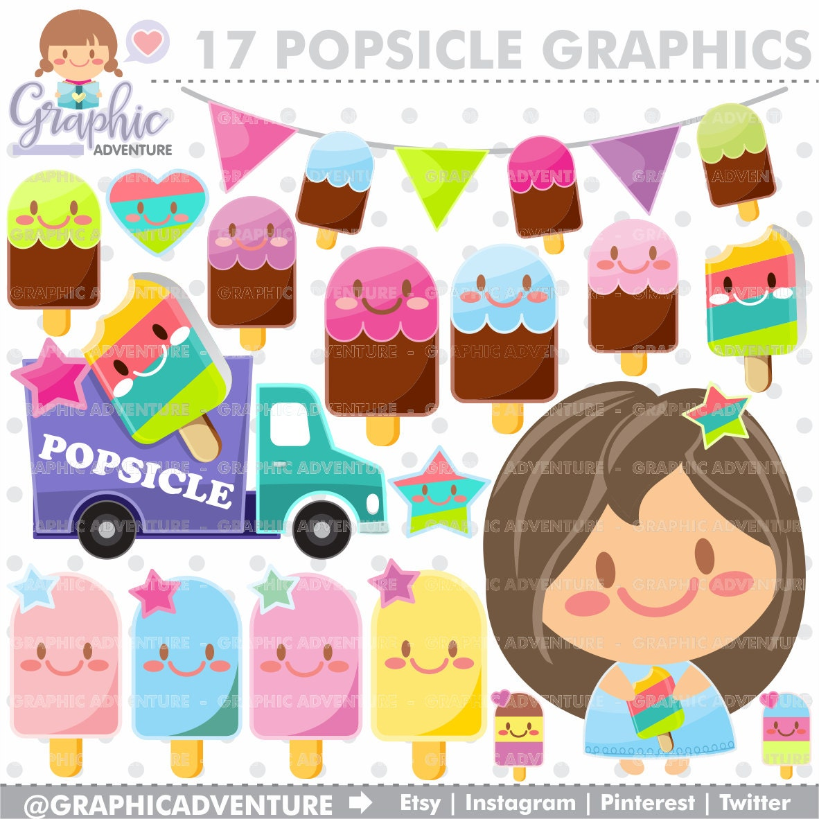 Popsicle Clipart Popsicle Graphics COMMERCIAL USE Kawaii ...