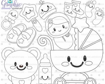 Baby Girl Stamps, Baby Stamps, Digi Stamp, Digital Stamps, Baby Coloring Page, COMMERCIAL USE, Baby Digistamp, Baby Girl Clipart