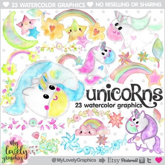 Unicorno Clipart Unicorn Grafico Uso Commerciale Kawaii Etsy