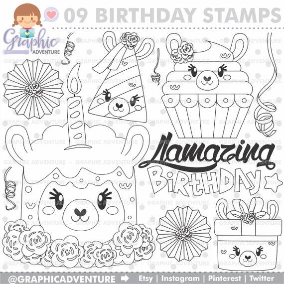 Kleurplaten Verjaardag Vake.Lama Stempels Verjaardag Stamps Alpaca Stempels Commercieel Gebruik Llamazing Verjaardag Cake Zegels Cupcake Llama Kleurplaat Stempels