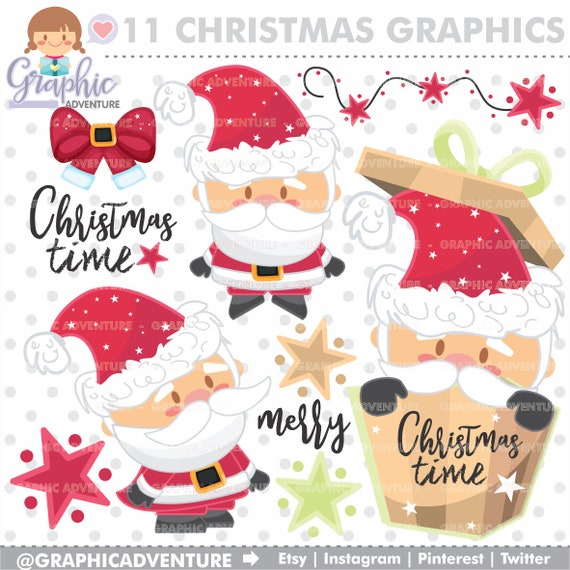 Etsy Christmas.Christmas Clipart Christmas Graphics Commercial Use Noel Clipart Santa Claus Clipart Kawaii Clipart Christmas Clip Art Xmas Clipart