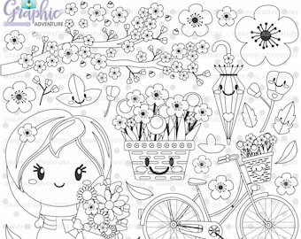 Spring Stamps, Flower Stamps, Spring Coloring Page, COMMERCIAL USE, Digital Stamp, Digital Image, Spring Digistamp, Spring Clipart