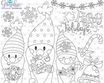 Christmas Stamps, Gnome Stamps, COMMERCIAL USE, Digi Stamp, Digital Image, Christmas Digistamp, Christmas Coloring Page, Clip Art