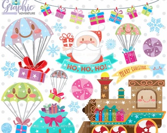 Christmas Clipart, Christmas Graphics, COMMERCIAL USE, Kawaii Clipart, Christmas Clip Art, Christmas Party, Christmas Train, Winter