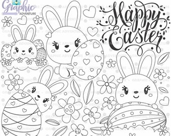 Easter Stamps, Bunny Stamps, Digital Stamps, Easter Coloring Page, COMMERCIAL USE, Easter Digistamp, Easter Egg Stamps, Clip Art