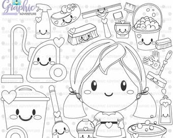 Clean Up Stamps, Housekeeping Stamps, COMMERCIAL USE, Digi Stamp, Digital Image, Party Digistamp, Clean Up Coloring Page, Clip Art