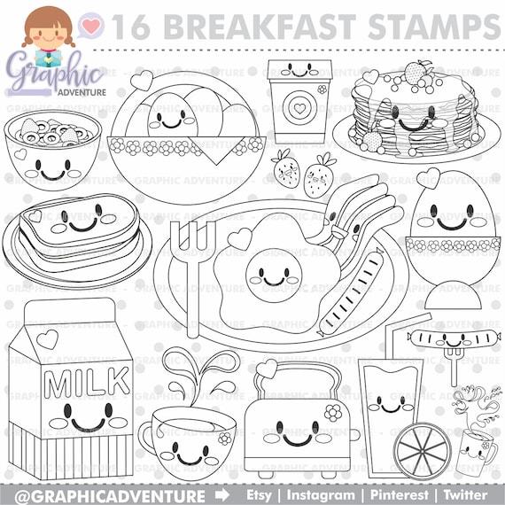 Breakfast Stamp COMMERCIAL USE Digi Stamp Digital Image   Etsy