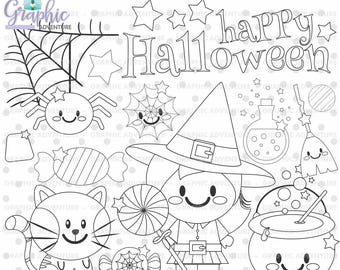 Halloween Stamp, COMMERCIAL USE, Digi Stamp, Digital Image, Halloween Digistamp, Halloween Coloring Page, Halloween Graphic, Stamps