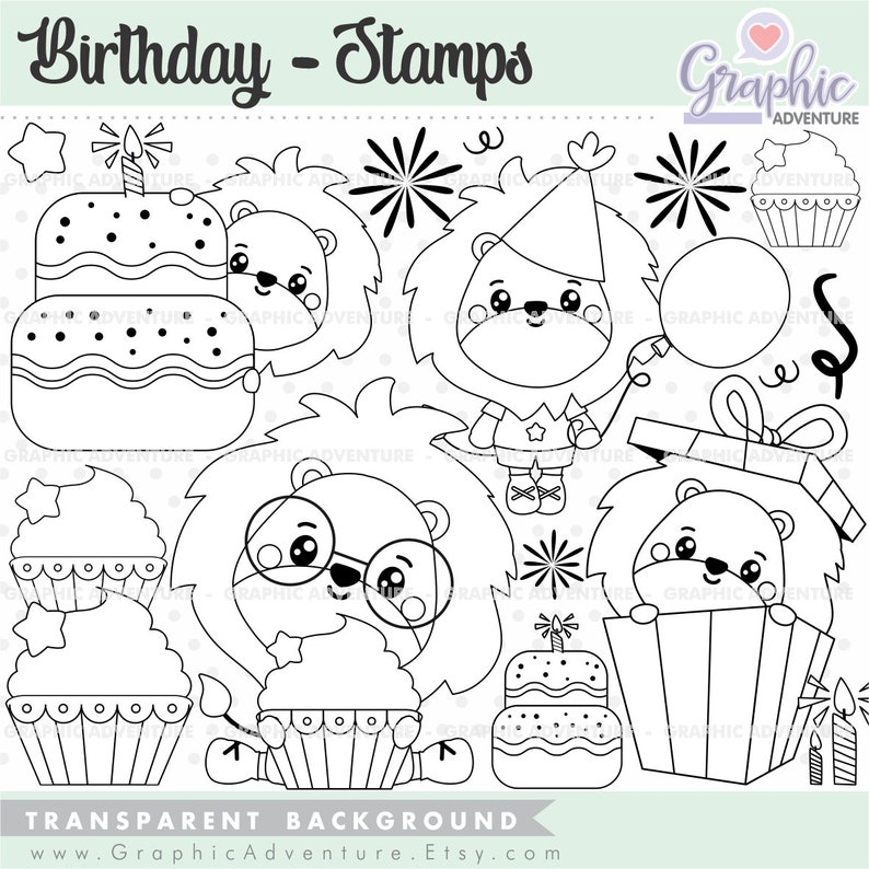 Birthday Stamps Birthday Coloring Pages Happy Birthday Stamps Lion Stamps Gift Stamp COMMERCIAL USE Lion Coloring Pages Animal Stamps