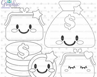 Money Stamp, COMMERCIAL USE, Digi Stamp, Digital Image, Money Digistamp, Money Coloring Page, Purse Graphic, Purse Clipart, Stamps