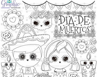 Day of the Dead Stamps, Dia de los Muertos Stamps, COMMERCIAL USE, Digi Stamp, Digital Image, Halloween Digistamp, Coloring Page