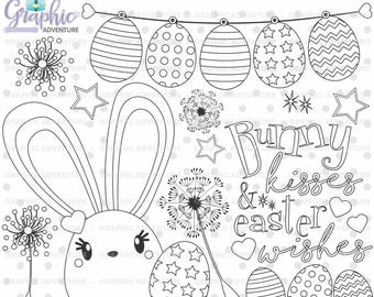 Easter Stamps, Bunny Stamps, Easter Coloring Page, COMMERCIAL USE, Digital Stamp, Rabbit Stamps, Spring Digistamp, Spring Clipart