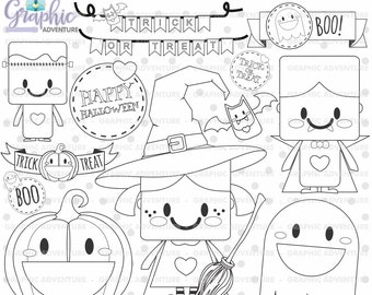 Halloween Stamp, COMMERCIAL USE, Digi Stamp, Digital Image, Halloween Digistamp, Halloween Coloring Page, Halloween Graphic