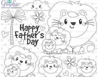 Lion Stamps, Father's Day Stamps, COMMERCIAL USE Stamps, Happy Father's Day, Animal Stamps, Lion Coloring Page, Dad and Baby Stamps, Cute