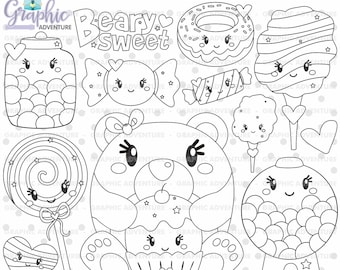 Bear Stamps, Cotton Candy Stamps, Beary Sweet Stamps, COMMERCIAL USE, Sweet Stamp, Bear Coloring Page, Candy Stamp, Cupcake Stamp, DigiStamp