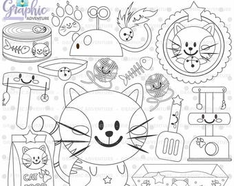 Cat Stamp, Kitty Stamps, Cat Food Stamps, COMMERCIAL USE, Digi Stamp, Digital Image, Cat Digistamp, Cat Coloring Page, Cat Graphic