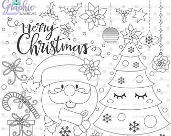 Christmas Stamps, Santa Claus Stamps, COMMERCIAL USE, Xmas Stamps, Christmas Digistamp, Christmas Coloring Page, Digital Stamps