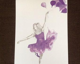 Ballerina watercolour print
