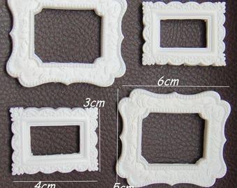 Set of 4 mini resin frames Scrapbook embellishments Frame Craft frames