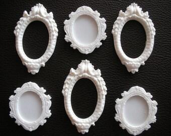 Set of 6 mini resin frames Scrapbook embellishments Frame Oval frame