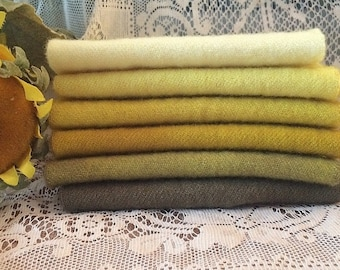 Rug Hooking, Wool Fabric, Hand Dyed, Felted, Yellow Gradient Bundle, 1/8 yard, 1/16 yard, 6 Values, for Rug Hooking, Wool Applique, Crafts