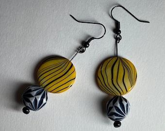 Colorful jewelry Cute long dangle earrings Yellow & black tiger stripe Zoom online meeting fun Animal statement earrings Womans jewelry